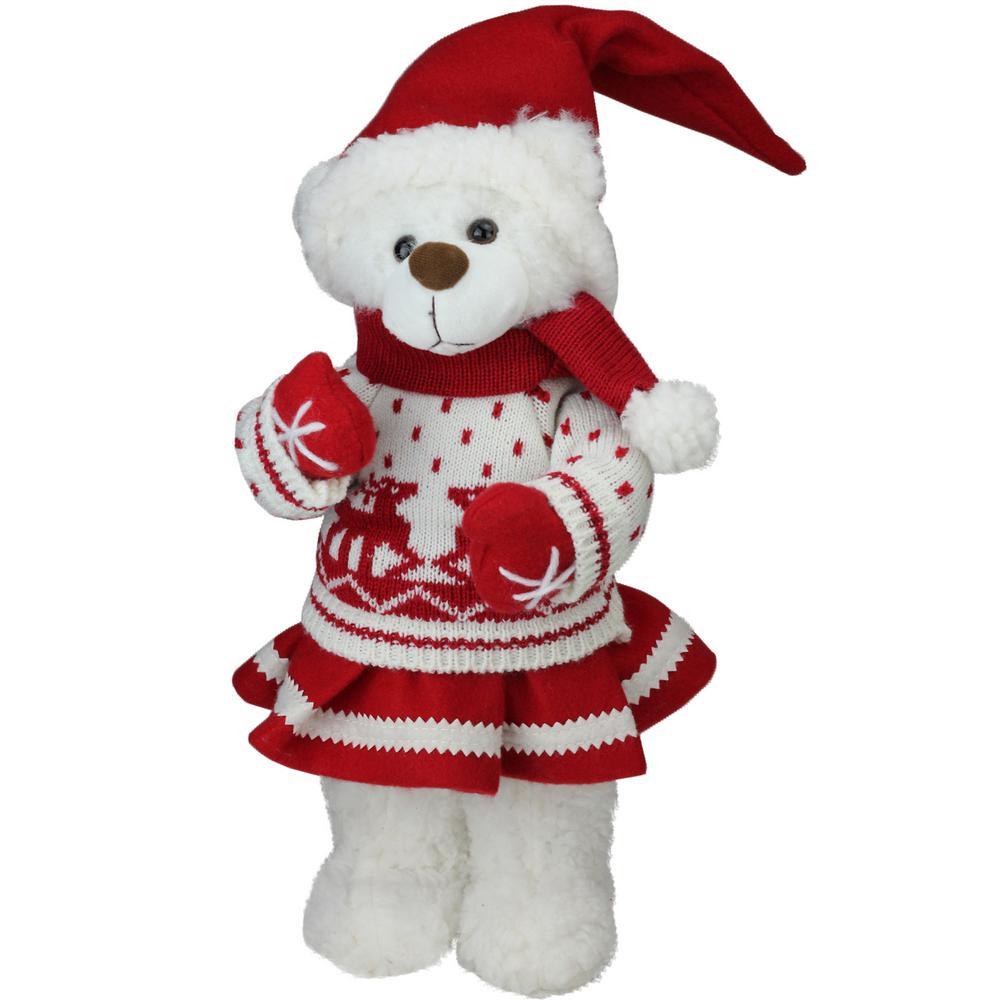 13.5 in. Retro Christmas Girl Santa Bear in Deer Sweater Christmas Figure Decoration