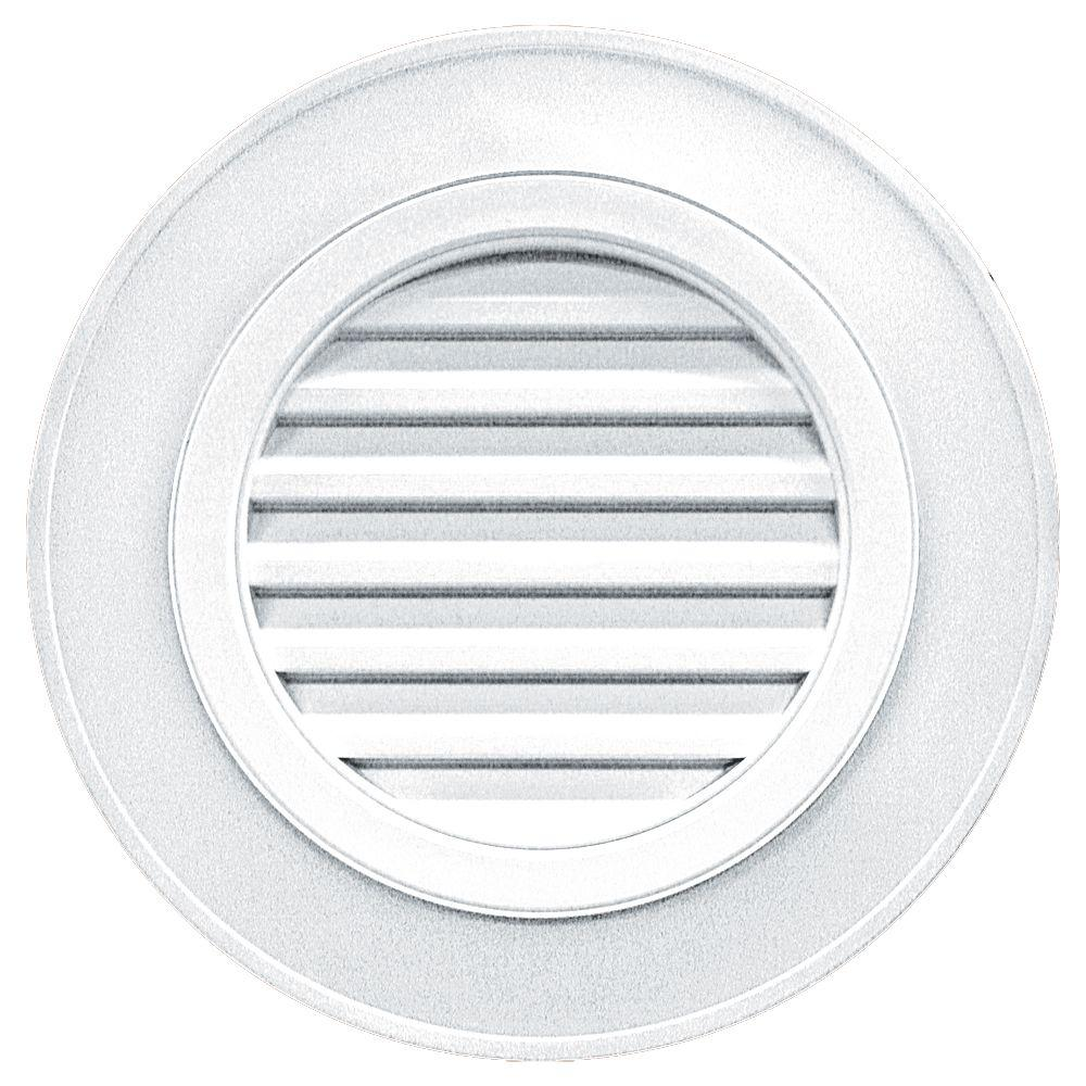 28 in. Round Gable Vent in White (without Keystones)