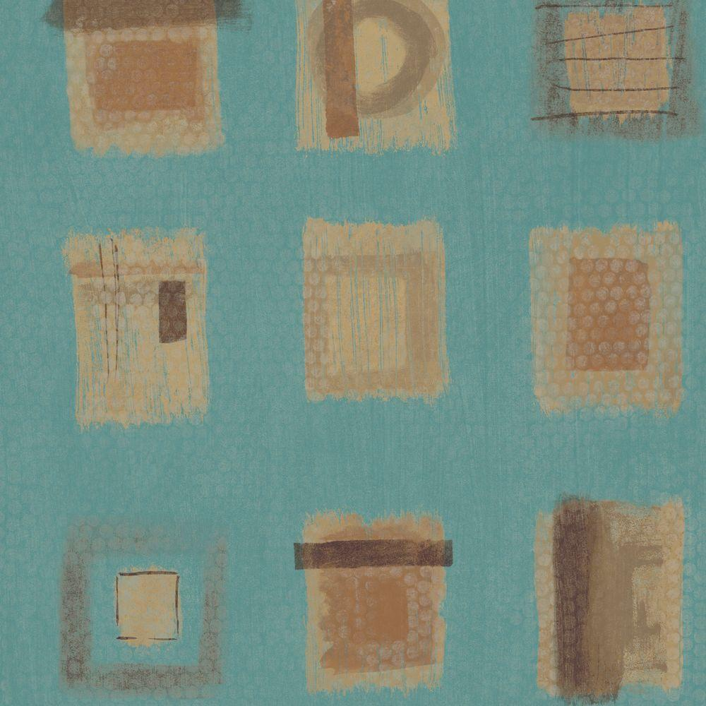 The Wallpaper Company 56 sq. ft. Teal Free Form Squares on a Geotextural Ground Wallpaper