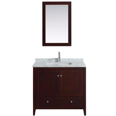 Lime 36 in. W x 22 in. D x 34.50 in. H Vanity in Teak with Jazz Marble Vanity Top in White with White Basin