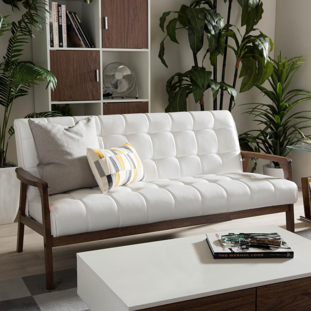 Baxton Studio Masterpiece Mid-Century White Faux Leather