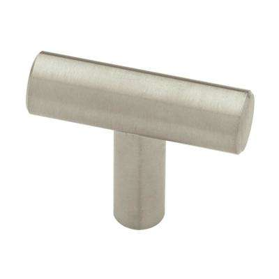 1-9/16 in. (40 mm) Brushed Steel Bar Cabinet Knob (12-Pack)