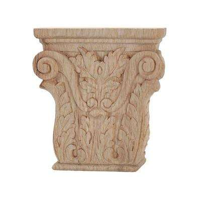 8-1/8 in. x 8-1/8 in. x 1-5/8 in. Unfinished Hand Carved American Red Oak Acanthus Wood Onlay Capital Wood Applique