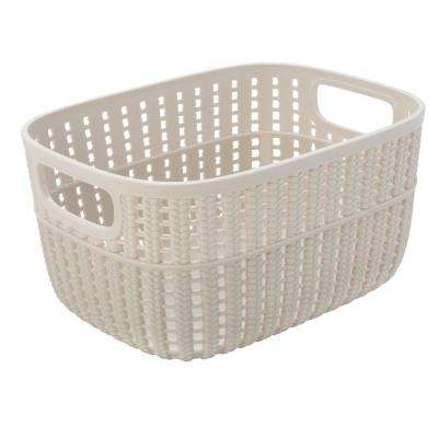 Sailor Knot 5 in. x 7 in. Small Storage Basket in 2-Tone Ivory