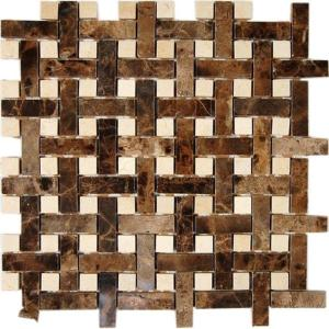 Dark Emperador with Crema Marfil Dot 12 in. x 12 in. x 8 mm Marble Mosaic Floor and Wall Tile