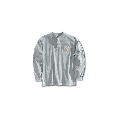 Men's Regular Large Heather Gray Cotton/Polyester Long-Sleeve T-Shirt