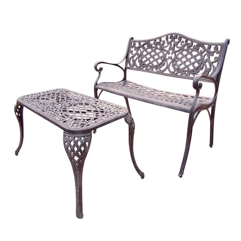 Mississippi Cast Aluminum Settee Bench and 35 in. x 18 in. Cocktail Table Set