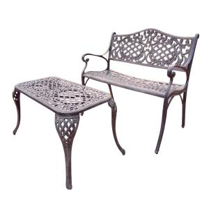 Click here to buy  Mississippi Cast Aluminum Settee Bench and 35 inch x 18 inch Cocktail Table Set.