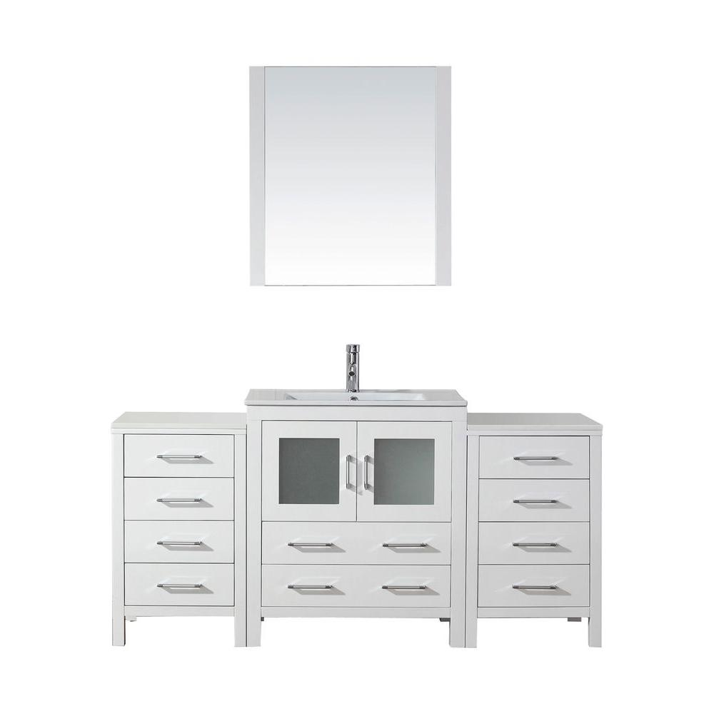 Virtu USA Dior 67 in. W Bath Vanity in White with Ceramic Vanity Top in Slim White Ceramic with Square Basin and Mirror and Faucet