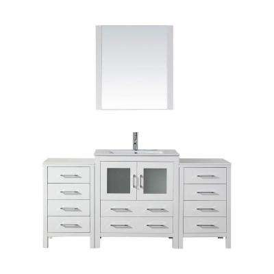 Dior 67 in. W Bath Vanity in White with Ceramic Vanity Top in Slim White Ceramic with Square Basin and Mirror and Faucet