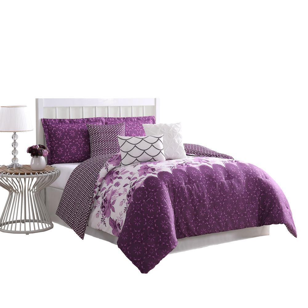 Surrey Floral 7-Piece Purple Reversible King Comforter Set