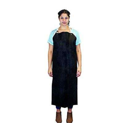 Heavy Duty Nitrile Industrial Bib Apron, Chemical and Oil Resistant (Black)