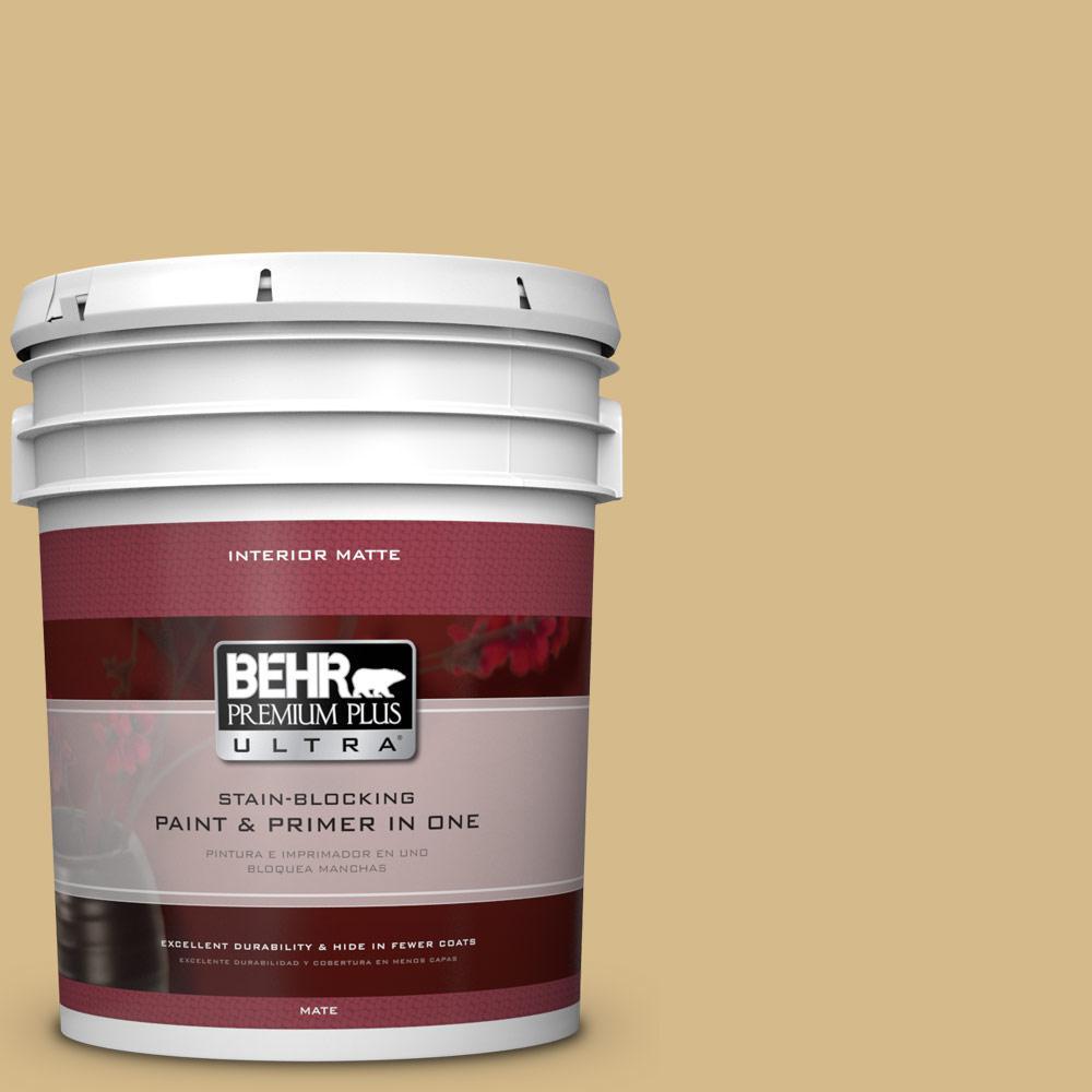 BEHR Premium Plus Ultra 5 gal. #350F-5 Camel Flat/Matte Interior Paint