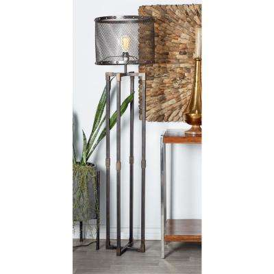 62 in. Bronze Rectangular Crossed Frames Floor Lamp with Mesh Shade
