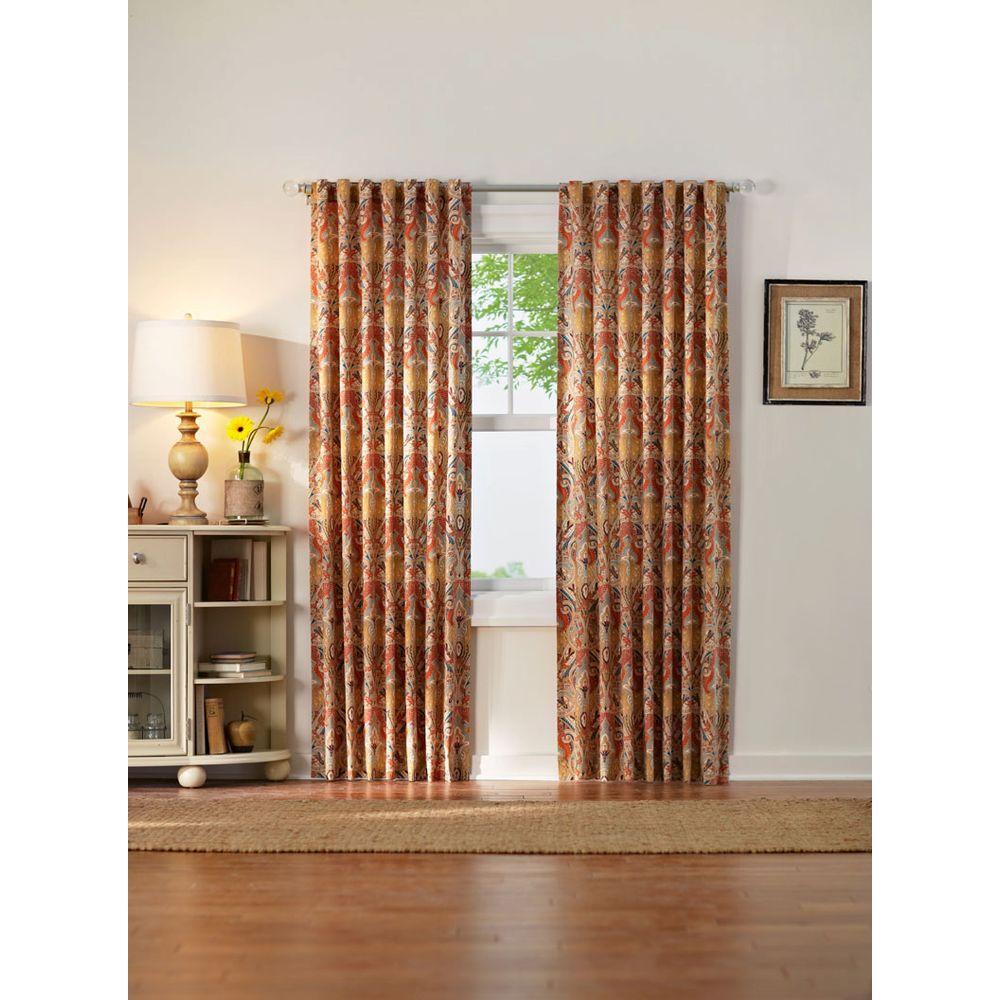 Semi-Opaque Multi-Paisley Back Tab Curtain
