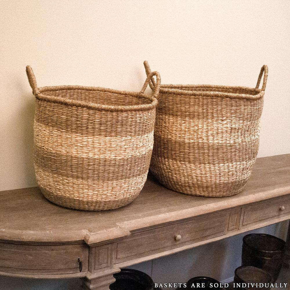 Zentique Rounded Hand Woven Wicker Seagrass Striped Medium Basket With Handles Zengn B5 M The Home Depot