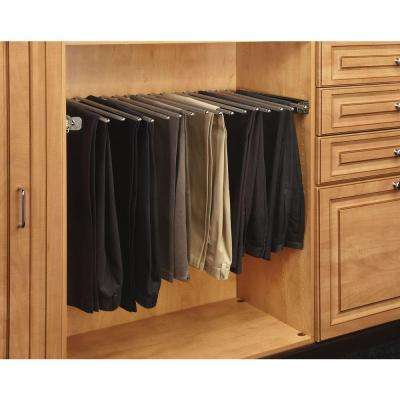 3 in. H x 29.75 in. W x 14 in. D Chrome Pull-Out Pants Rack with Full-Extension Slides
