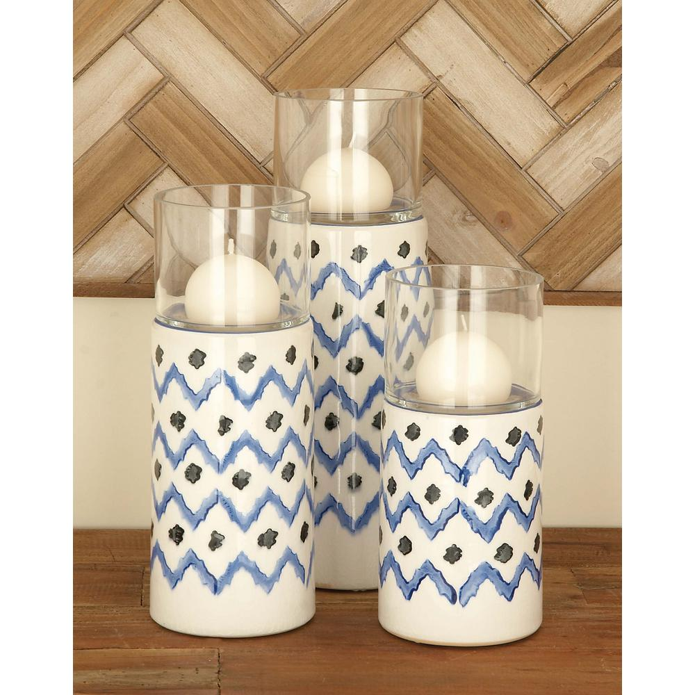 Blue Ceramic and Glass Candle Holders (Set of 3)