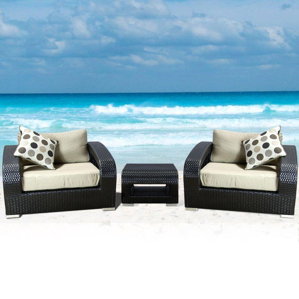 Caico Outdoor Furniture Monaco 3-Piece All Weather Woven Wicker Patio Club Chair Set-DISCONTINUED