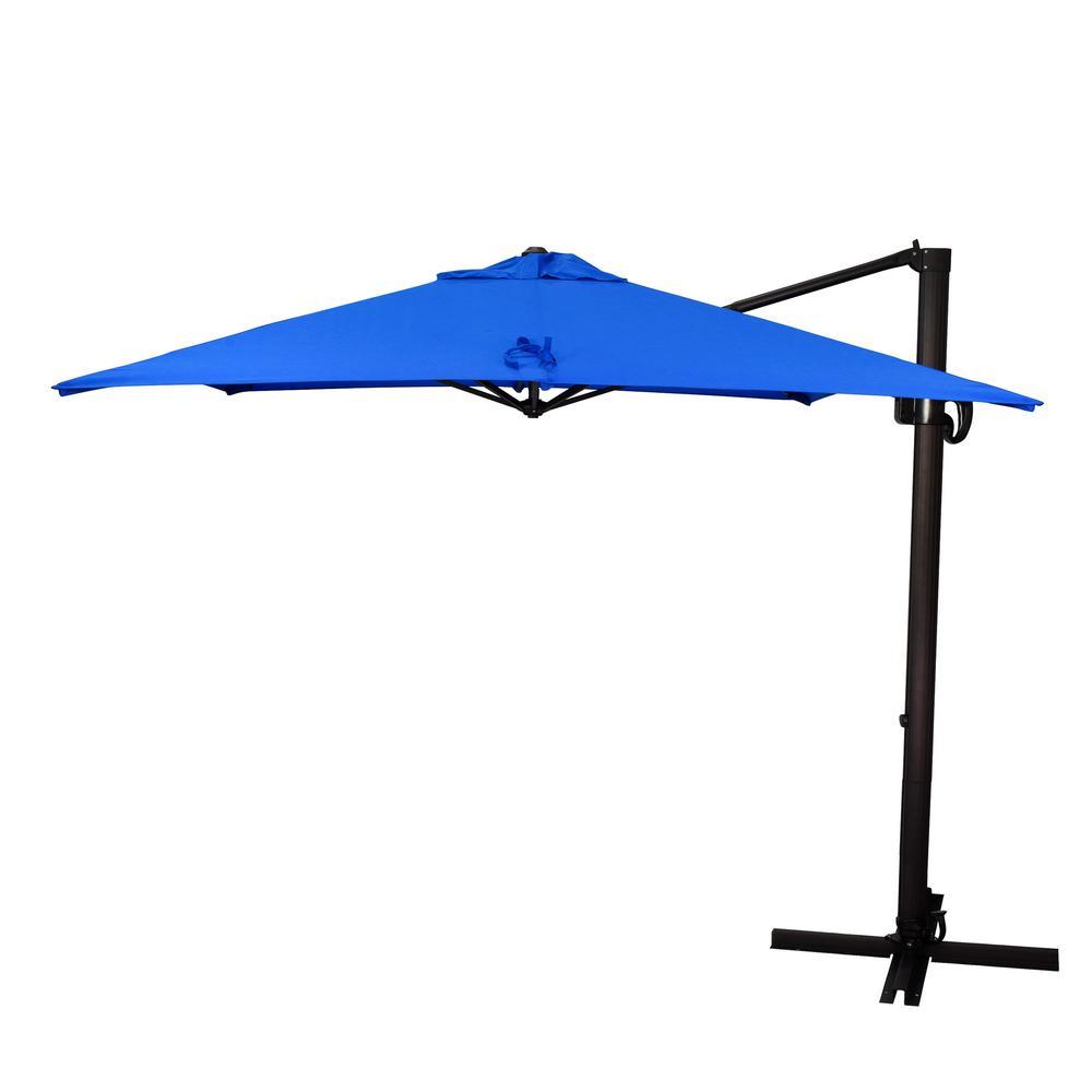 8.5 ft. Bronze Aluminum Square Cantilever Patio Umbrella with Crank Open Tilt Protective Cover in Pacific Blue Sunbrella