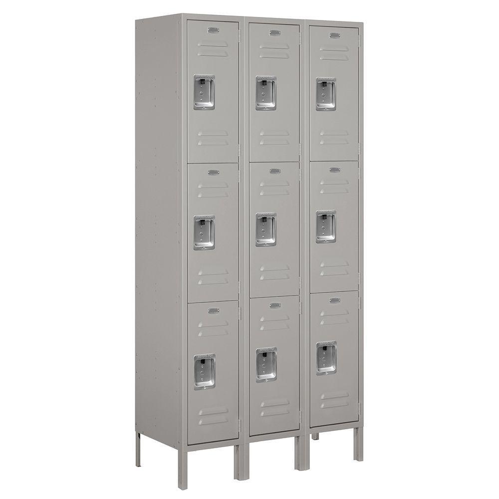 Salsbury Industries 63000 Series 36 in. W x 78 in. H x 15 in. D - Triple Tier Metal Locker Unassembled in Gray