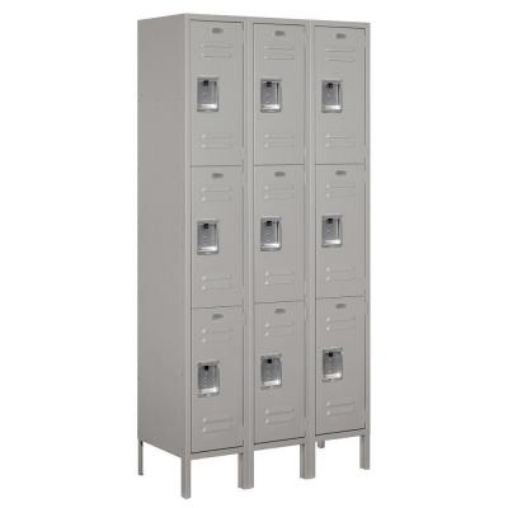 63000 Series 36 in. W x 78 in. H x 15 in. D - Triple Tier Metal Locker Unassembled in Gray