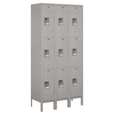 63000 Series 36 in. W x 78 in. H x 15 in. D - Triple Tier Metal Locker Unassembled in Gray