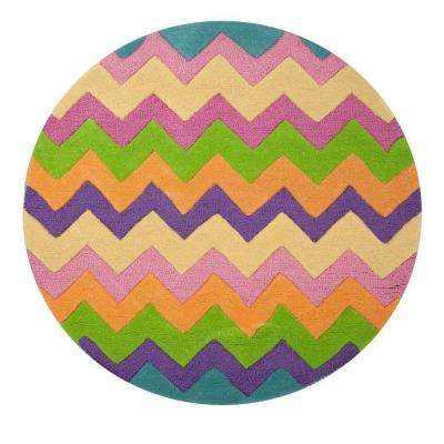 Chevron Kids Play Multi 3 ft. x 3 ft. Round Area Rug