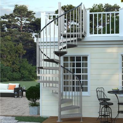 Reroute Galvanized Exterior 60in Diameter, Fits Height 110.5in - 123.5in, 2 42in Tall Platform Rails Spiral Stair Kit