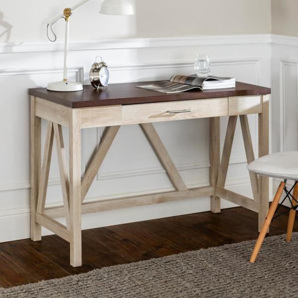 46'' Modern Computer Desk - White Oak Base/Traditional Brown Top HDW46AFTB
