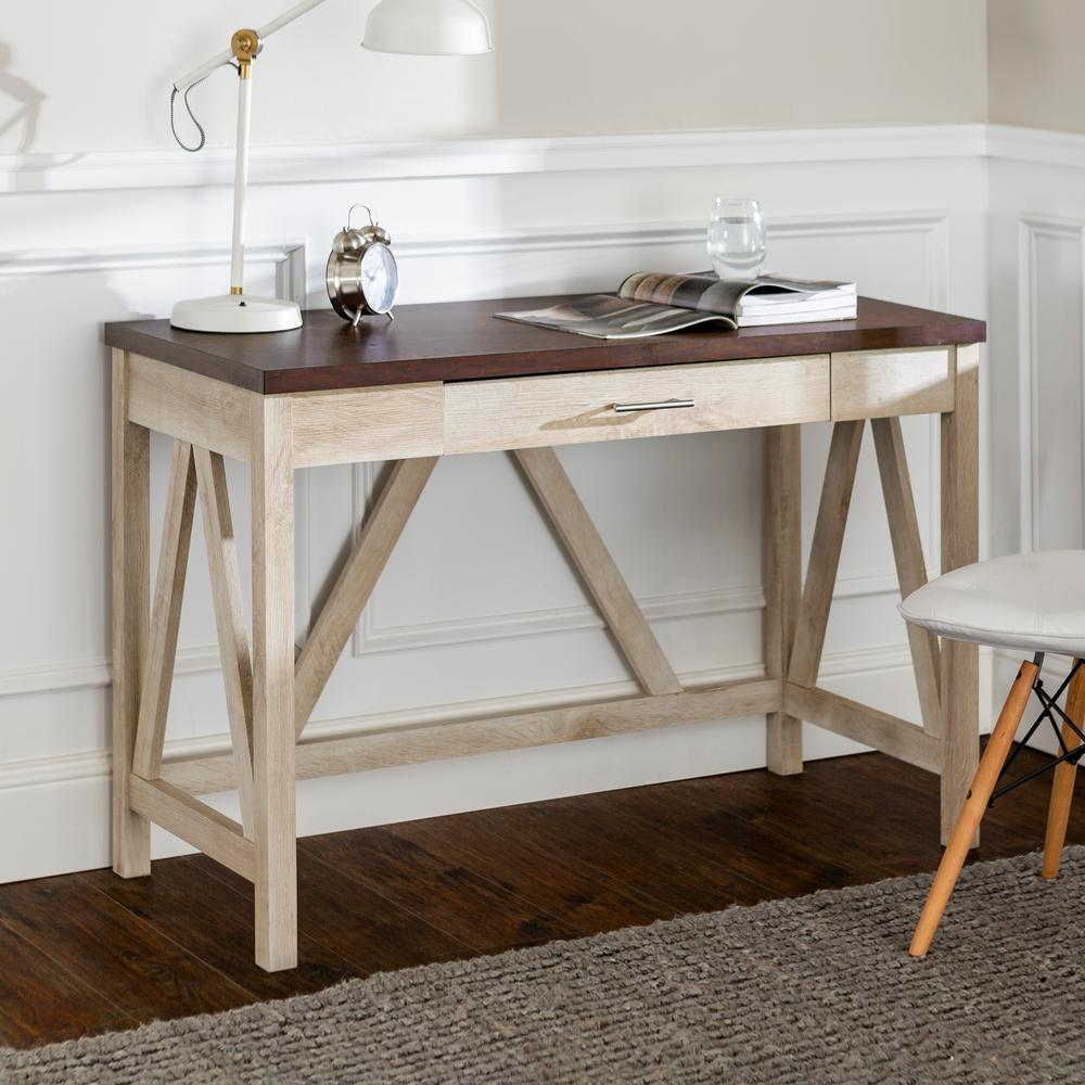 46 in. White Oak/Brown Rectangular 1 -Drawer Writing Desk with Storage