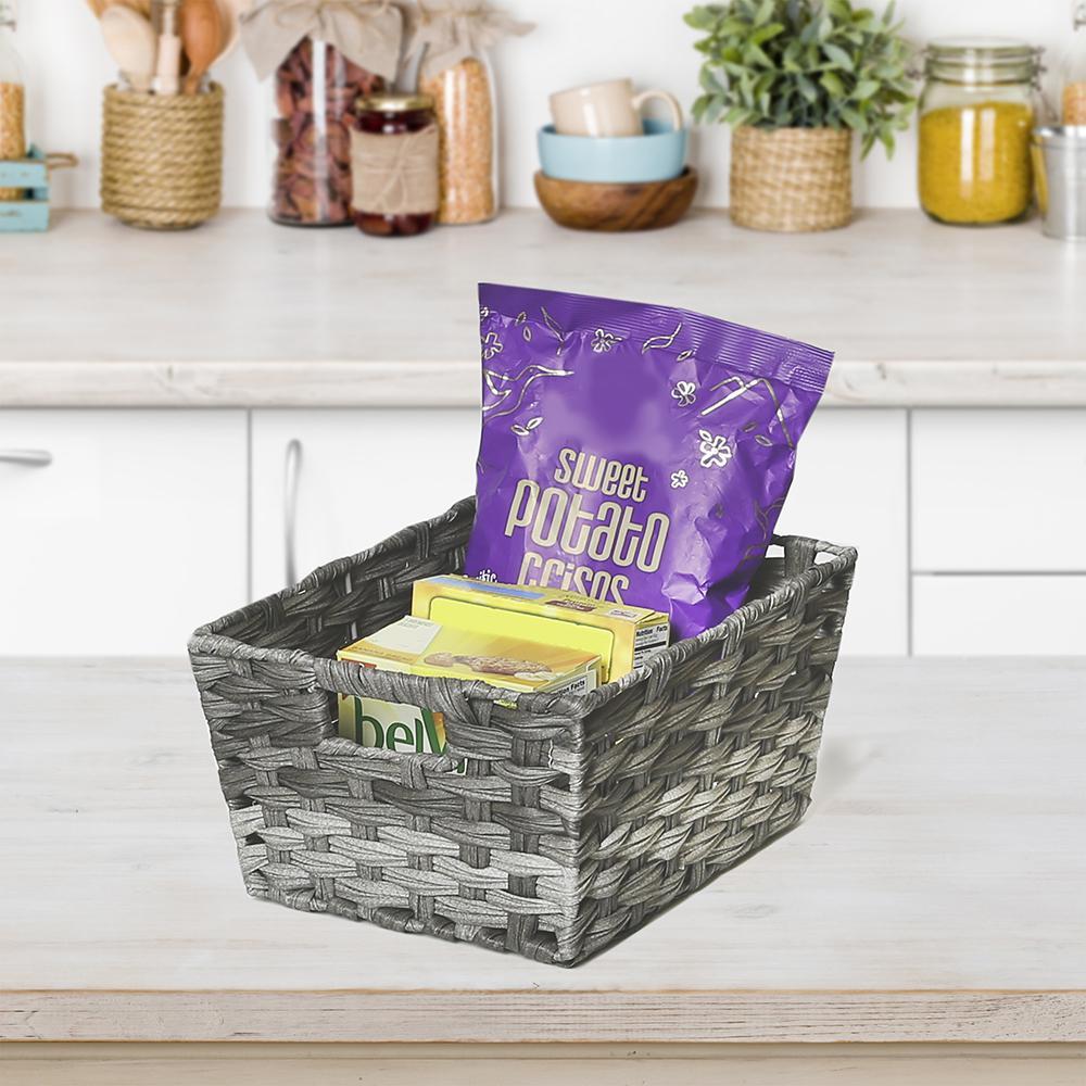 Granite Gray Resin Weave Nesting Rectangular Shelf Storage Basket Assortment Set (3-Piece)
