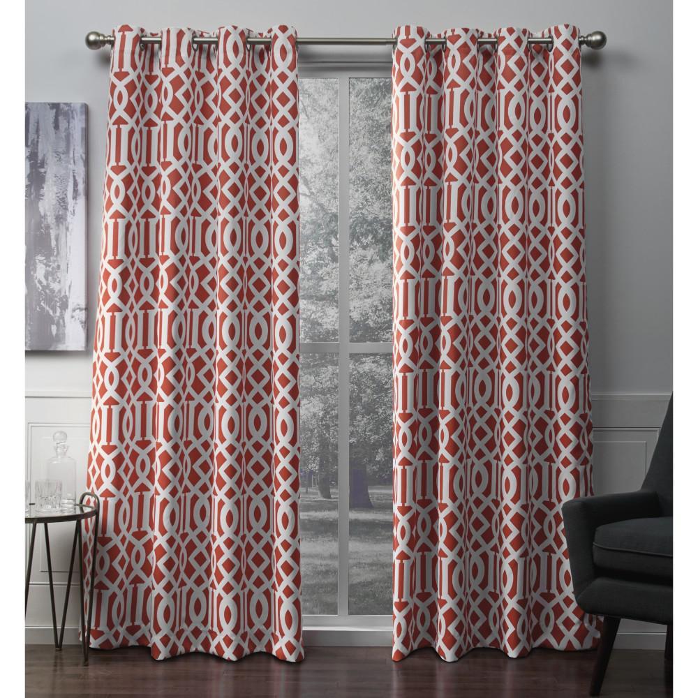 Scrollwork 52 in. W x 96 in. L Woven Blackout Grommet Top Curtain Panel in Mecca Orange (2 Panels)