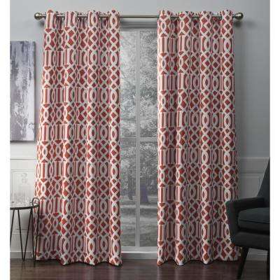 Scrollwork 52 in. W x 96 in. L Woven Blackout Grommet Top Curtain Panel in Mecca Orange (2 Panels)