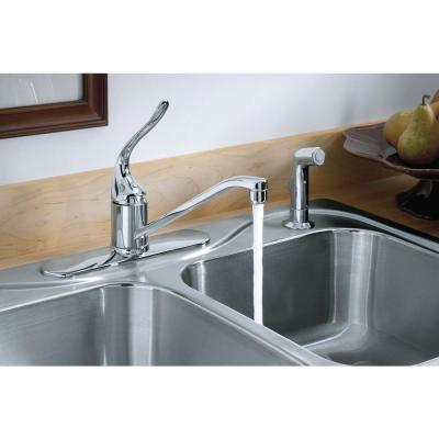 Coralais Single-Handle Standard Kitchen Faucet with Side Sprayer and Lever Handle in Polished Chrome