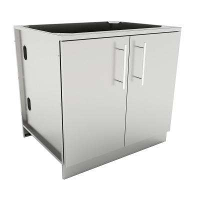 Designer Series 304 Stainless Steel 36 in. x 34.5 in. x 28.25 in. Full Height Double Door Base Cabinet with Door Pockets