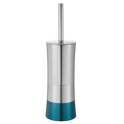 Shiny Colorblock Toilet Brush and Holder in Blue