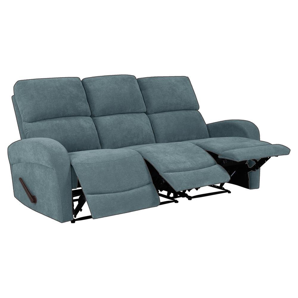 Caribbean Blue Chenille 3-Seat Recliner Sofa