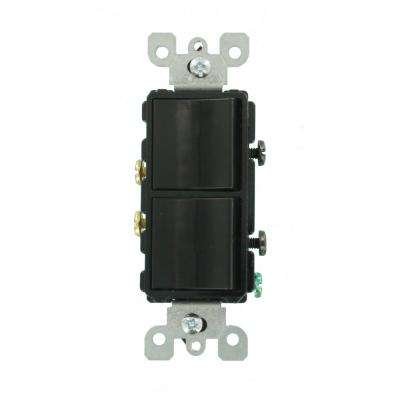 Decora 15 Amp Single-Pole Dual Rocker Switch, Black