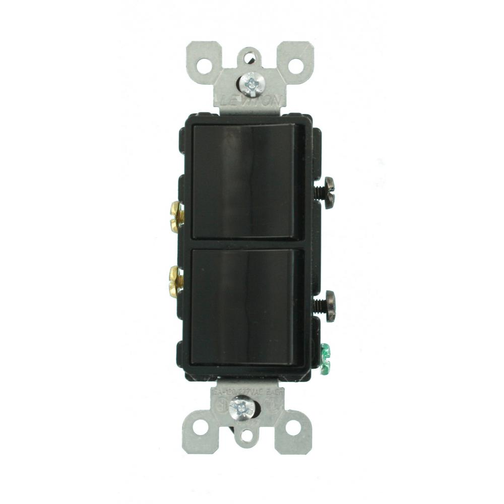 Leviton Decora 15 Amp Single-Pole Dual Rocker Switch, Black-R55 ...