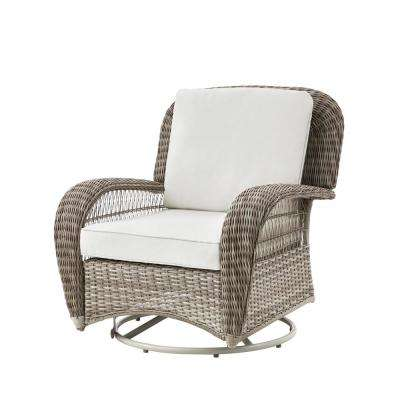 Beacon Park Gray Wicker Outdoor Patio Swivel Lounge Chair with Bare Cushions