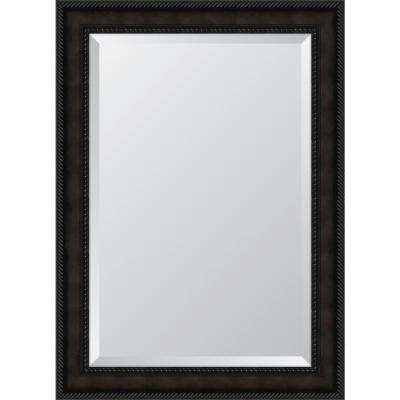 31 in. x 43 in. Framed 3-5/8 in. Espresso Rope Scoop Resin Frame Mirror