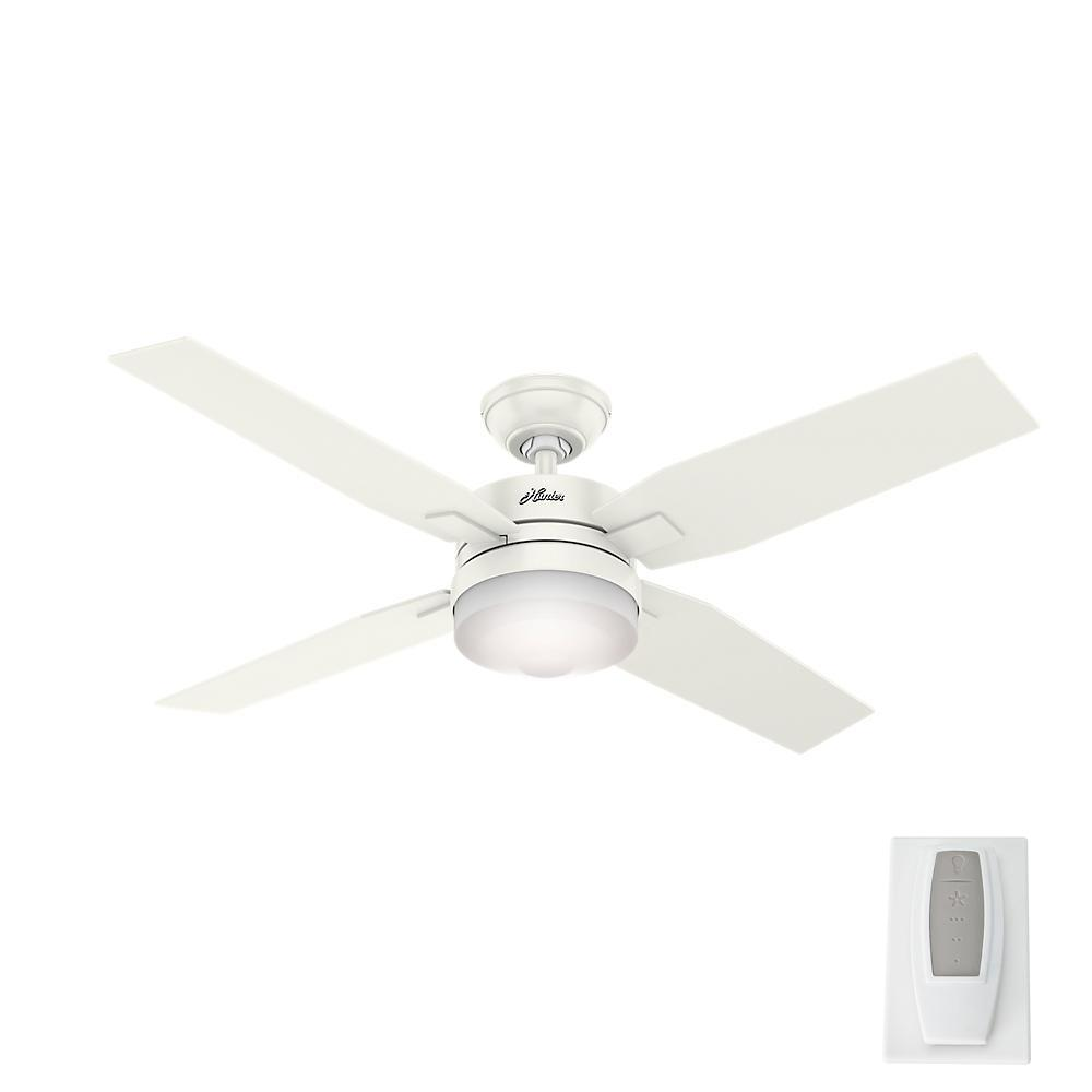 Hunter Mercado 50 In Led Indoor Fresh White Ceiling Fan With Light And Universal Remote