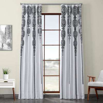 Cyprus Black Printed Linen Textured Blackout Curtain - 50 in. W x 96 in. L (1-Panel)