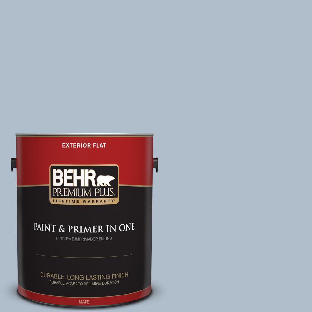 BEHR Premium Plus 1-gal. #570E-3 Liberty Gray Flat Exterior Paint