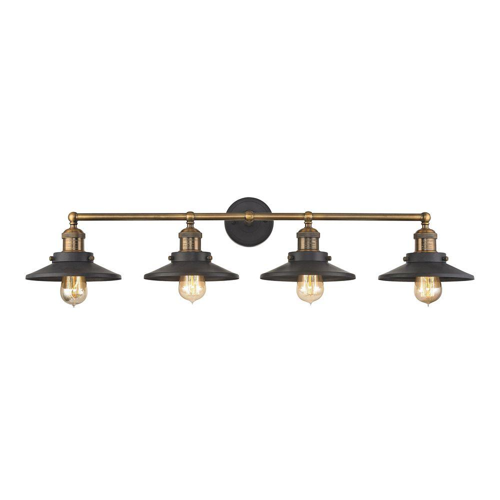 Titan Lighting English Pub 4-Light Tarnished Graphite and Antique Brass  Vanity Light - Titan Lighting English Pub 4-Light Tarnished Graphite And Antique