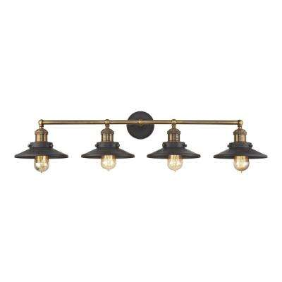 English Pub 4-Light Tarnished Graphite and Antique Brass Vanity Light