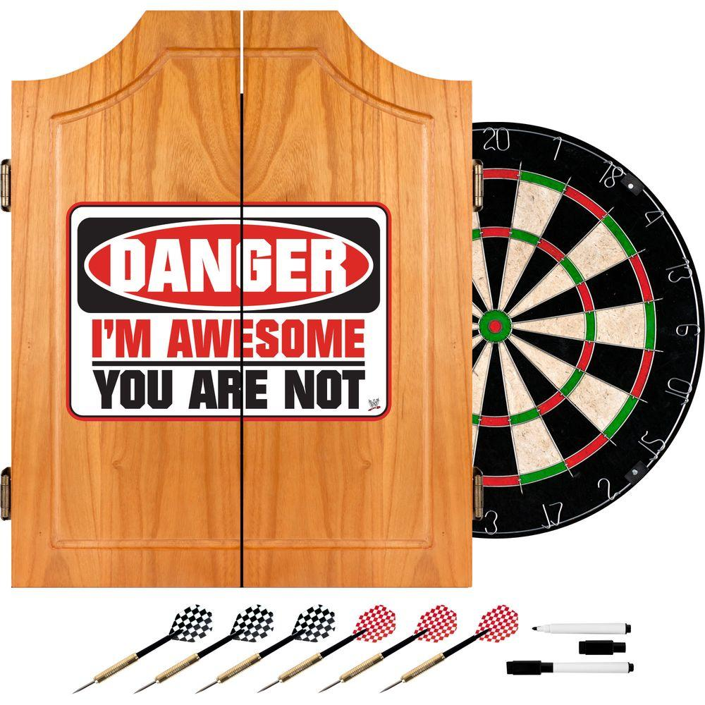 Trademark Wood Finish Dart Cabinet Set - WWE The Miz