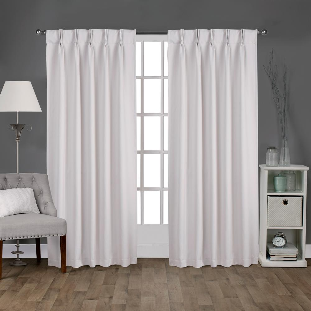 Sateen 30 in. W x 96 in. L Woven Blackout Pinch Pleat Top Curtain Panel in Vanilla (2 Panels)