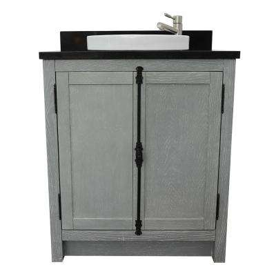 Plantation 31 in. W x 22 in. D Bath Vanity in Gray with Granite Vanity Top in Black with White Round Basin